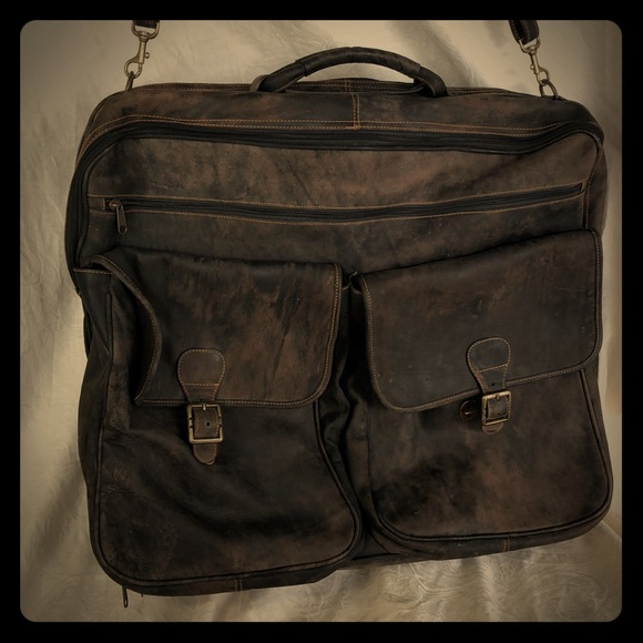31848a4ee805 Sturdy vintage style men's leather garment bag